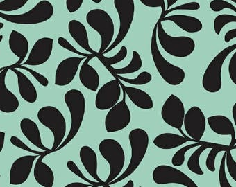 Hello Gorgeous Leaves in Black on Teal from Melissa Ybarra 1 Yard Cut