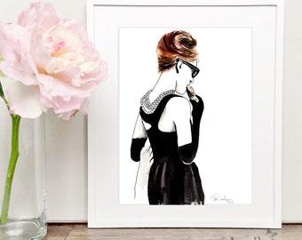 Audrey Hepburn Breakfast at Tiffanys Watercolor Art, Audrey Hepburn Wall Art Prints, Audrey Hepburn Poster Print, Audrey Hepburn Art