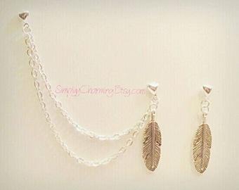 Feather Cartilage Chain Earring Double Lobe Helix Ear Cuff Jewelry