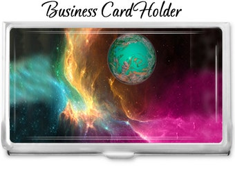 Space Nebula 2 Business Card Holder - Personalized or Not Card Case Business Card Case - Gift Idea - Office Supplies - Credit Card Holder -