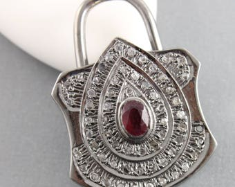 Pave Diamond Pendant, Pave Diamond & Ruby Lock Pendant, Ruby Diamond Lock Pendant, Pave Lock Pendant, Oxidized Silver, (DP-1445)