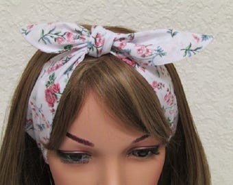Tie up head scarf, hair scarf, bandana, head scarf,  headband, pin up headband, self tie headscarf, handmade headband, polycotton