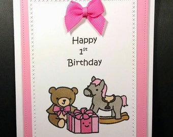 First Birthday Card for Baby Girl in Pink - 1st Birthday Card - Hand Stamped Card - Birthday Card - Baby Card
