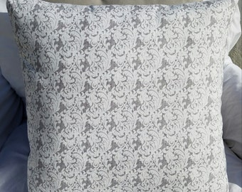 Grey & White Scroll Print Cotton Pillow Cover - Various Sizes!