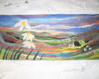 Felt painting, wet felted picture, wall art