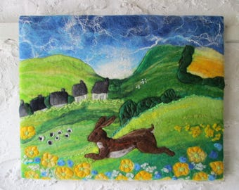 textile art, felted wall art, hare picture