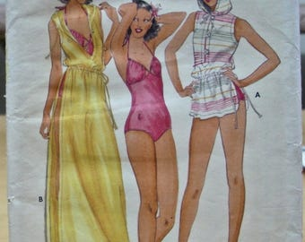FREE SHIPPING! Butterick 6097 1970's swim suit and cover up John Kloss sewing pattern Size 12 UNCUT