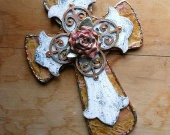 Cross crosses shabby chic gift rose christian art religious art wall decor crackled decoupage cross shabby chic