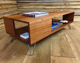 fat boy mid century modern coffee table with storage featuring sapele mahogany with hairpin legs