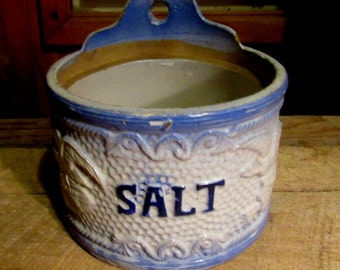 blue stoneware salt crock with flying birds, antique kitchenware