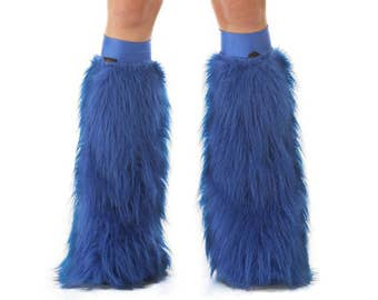 Blue Rave Fluffies - Fluffy Leg Warmers - Furry Boot Covers - Long Pile Faux Fur Blue Fluffies