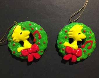 Vintage 2 Collectable Woodstock Christmas Ornament United Feature Syndicate Inc.