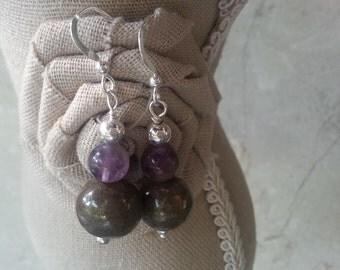Memorial Bead Earrings - Custom Keepsake Stoneware Pottery Pet Cremains Jewelry - GEM-STONES Drop Earrings