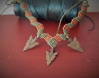 Arrowhead brass tribal necklace