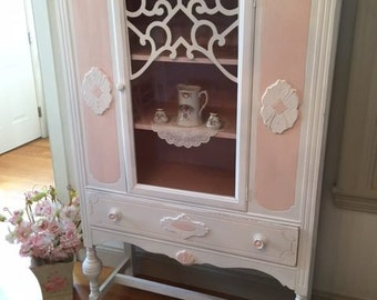 Forever Pink - Antique Pink and White China Cabinet