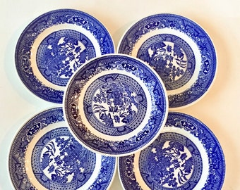 "Blue Dessert Plates / 5 Vintage Blue & White 6"" Asian Dessert Plates Great for Tea Party, Brunch, Shower, or Wall Display"