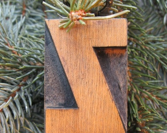 Vintage wood type Upper Case Z ChristmasTree Ornament. Beautiful old wood type letter with brass hanger!