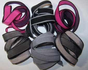 Discontinued/Experimental Ribbons/ Sassy Silks Hand Painted/Dyed Ribbons  Lot 100-0684