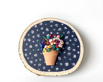 Whimsical Flower Pot Basswood Wall Art