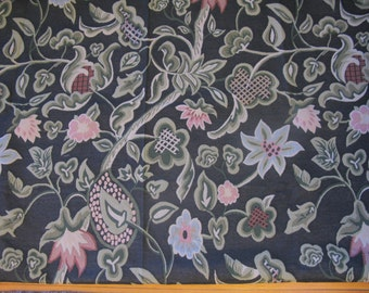 Upholstery fabric vintage, large flower fabric by the yard, shabby chic 2 yards black rare