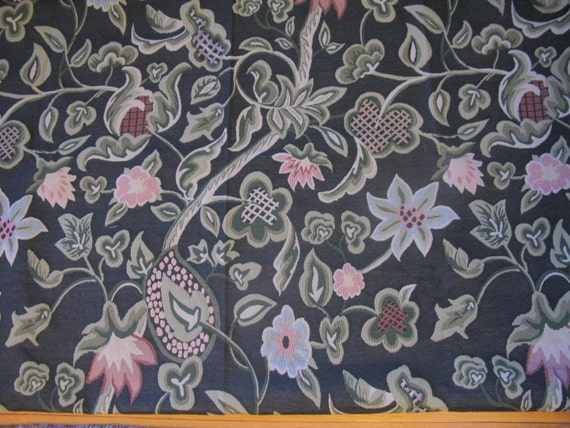 Upholstery Fabric Vintage Large Flower By The Yard Shabby Chic 2 Yards Black Rare From Greenleafvintage1 On Etsy Studio