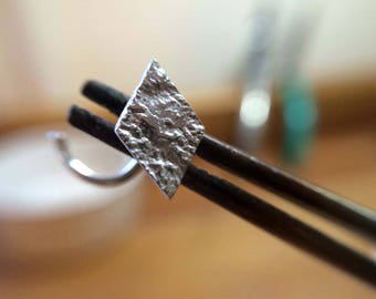 Silver diamond shape nose stud, nose screw, nose pin, nose piercing, gypsy silver stud, viking style, silver stud, geometric, nose jewellery