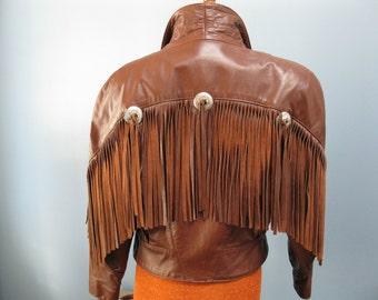Funky Fringed Leather Jacket Cognac Tan Moto 1980's Trucker Western Cowboy