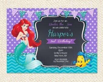 Little Mermaid Ariel Invitation, Little Mermaid invite, Ariel invitation, Ariel Birthday invitation, Birthday invitation, Princess Ariel