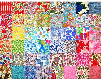 """SALE 15% off Liberty Fabric 48 Mini Charm Squares 2.5"""" Patchwork Quilting Floral Medium Bright Colours Liberty of London Cotton Tana Lawn"""