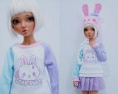 Slim MSD Minifee or SD BJD Sweater - Stay Cute Bunny