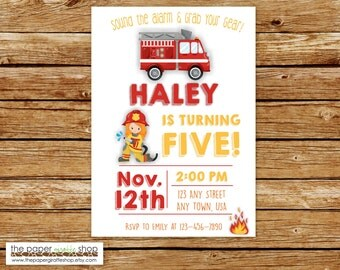 Firefighter Invitation | Girl Firefighter Invitation | Fire Truck Invitation | Fire Truck Birthday Party | Firefighter Party
