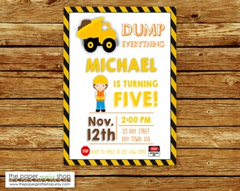 Construction Invitation | Construction Birthday Invitation | Construction Party | Birthday Invitation for Boys | Dump Truck Invitation