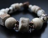 RESERVED for Lynn - Tribal antler and African beads bracelet primitive boho bracelet stretch safari bracelet copper, sterling bracelet