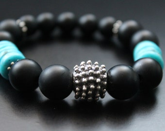 Anhui turquoise and matte onyx bracelet Bali sterling statement bracelet boho tribal stretch stacking bracelet genuine turquoise jewelry