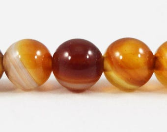 Striped Agate Beads 6mm Round Agate Gemstone Beads, Yellow and Brown Agate Beads, Agate Stone Beads on a 7 Inch Strand with 30 Beads