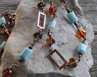 Aquamarine Hand Beaded Wire Wrapped Gemstone Hammered Copper Czech Glass Chain Necklace