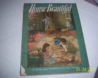 September 1955 House Beautiful Magazine Living Room Children Paper Ephemera