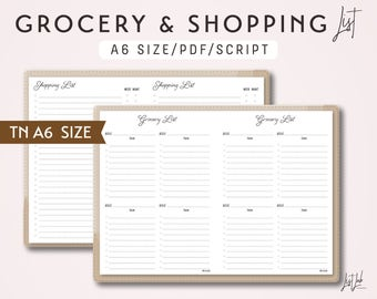 A6 TN Grocery List and Shopping List - Printable Traveler's Notebook Insert - Script Theme