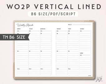 B6 TN Week on 2 Pages Vertical Lined - Printable Traveler's Notebook Insert - Script Theme -  WO2P