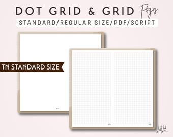 STANDARD SIZE TN Dot Grid and Grid - Printable Traveler's Notebook Insert - Script Theme