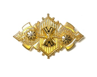 Vintage Brooch - Gold Filled and Black Enamel Pin - Taille D'Epergne Enameled # 1310