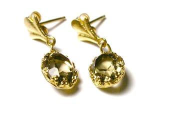 Vintage Quartz Earrings - 14k Yellow Gold Smokey Quartz Oval Dangle Earrings - Post Back - Pierced # 79