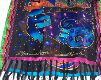 Vintage Laurel Burch Silk Scarf, Laurel Burch Dogs and Doggies Scarf, Colourful and Cute, Excellent Condition