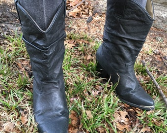80s Vintage Silver Tipped Slouchy Cowboy Boots