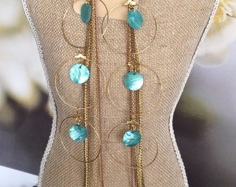 Long chain earrings, Gold and Turquoise Chain Earrings, Long Duster Earrings, Shell Earrings, duster earrings, dangle earrings