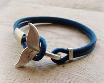 Whale Tail Bracelet - Dark Blue Nautical Bracelet Beach Jewelry Leather and Metal