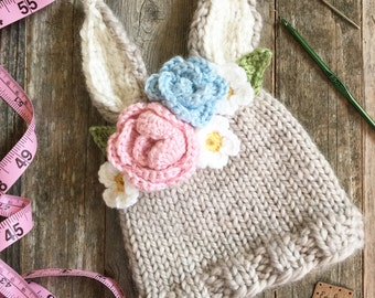 Baby Bunny Knit Newborn Hat with Flowers Newborn Photo Prop