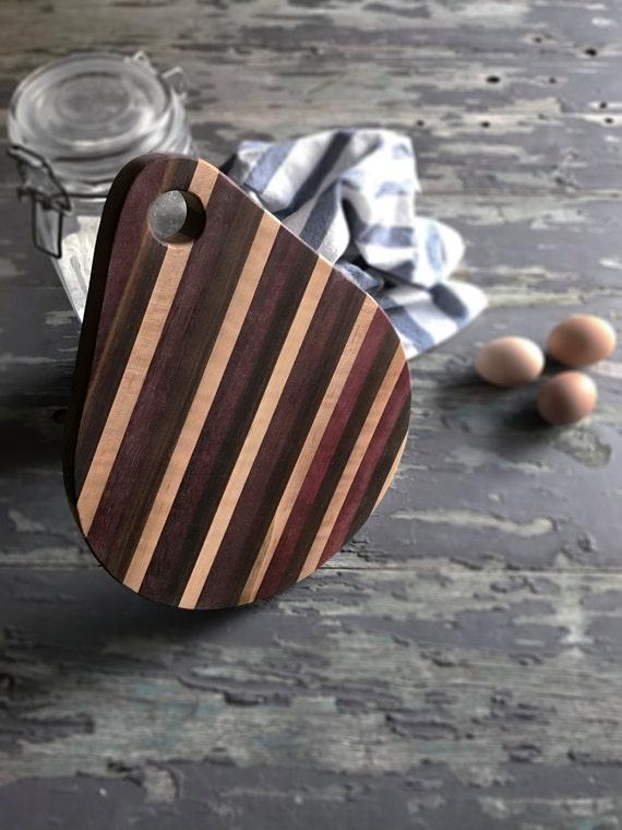Teardrop cutting board, 12 inches long, Purple Heart, Walnut, Curly Maple