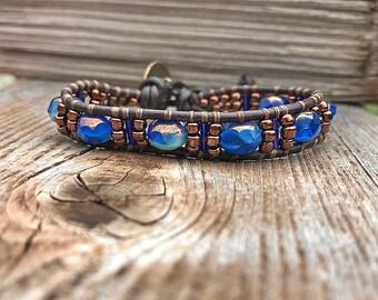 Beaded Leather Wrap Bracelet, Blue Beaded Leather Bracelet with Bronze Button, Blue Bracelet, Czech Beads, Single Leather Wrap Bracelet
