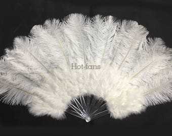 """Burlesque 21""""x 38"""" Marabou & Ostrich Feathers Fan With Pmma Staves in giftbox"""
